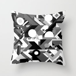 GEOMETRY SHAPES PATTERN PRINT (BLACK AND WHITE COLOR SCHEME) Throw Pillow