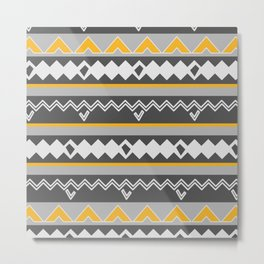 Gray stripes and native shapes Metal Print