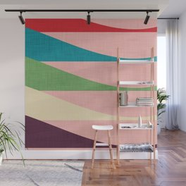 Mid century Modern Waves Pink Wall Mural
