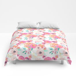 Indy Bloom Design Blush White Florals Comforters