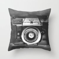 vintage camera Throw Pillows featuring Camera by Pauline Gauer