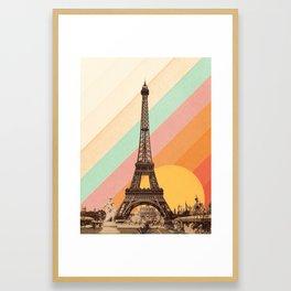 Rainbow Sky Above The Eiffel Tower Framed Art Print