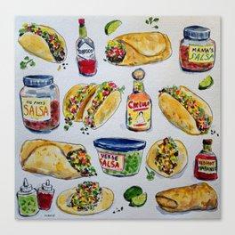 tacos burritos hot sauce and salsa Canvas Print