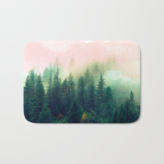 Watercolor mountain landscape Bath Mat