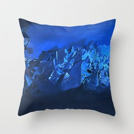 blue village Throw Pillow