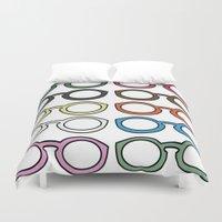 glasses Duvet Covers featuring Glasses by Pink Koala Design Studio