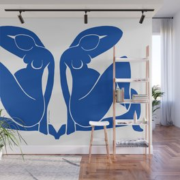 Pregnant Nude in Matisse Blue Wall Mural