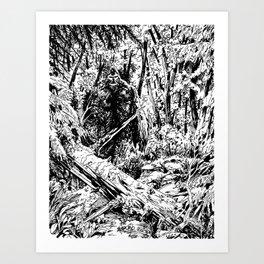 Sasquatch is camouflaged Art Print