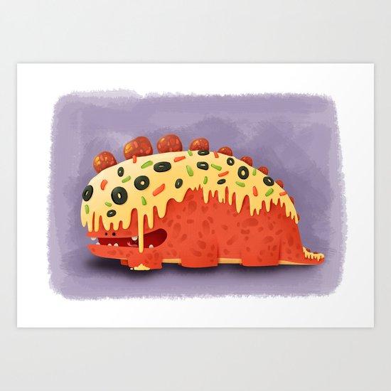 Pizza Dragon Art Print
