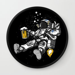 Astronaut Drinking Beer Space Party Wall Clock