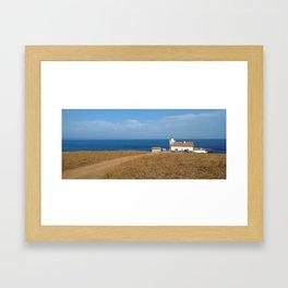 beach front lighthouse medulin croatia Istria Framed Art Print