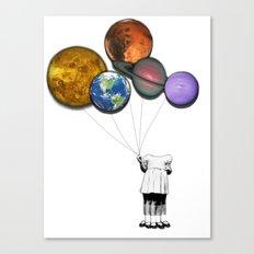 Planet balloon girl Canvas Print