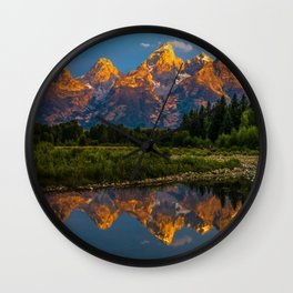 Grand Tetons Lake Reflections - Wyoming Wall Clock