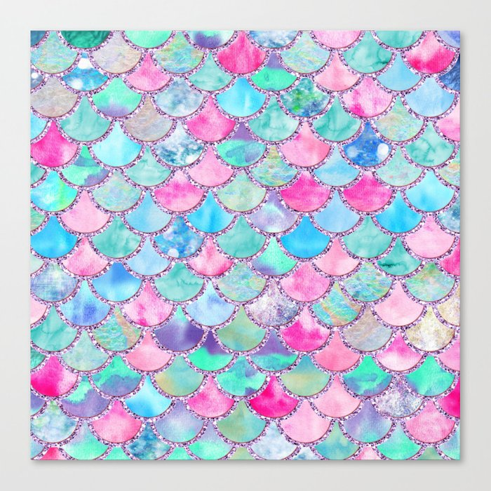 Colorful Pink and Blue Watercolor Trendy Glitter Mermaid Scales  Leinwanddruck