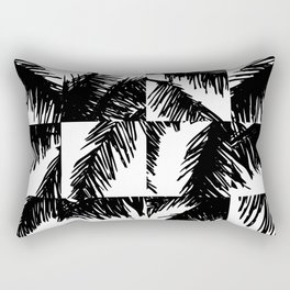 Palm Leaf Pattern Black Rectangular Pillow