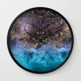 Gold floral mandala and confetti image Wall Clock