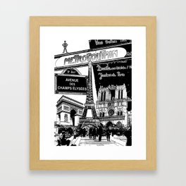 Black-and-White Paris Collage Framed Art Print