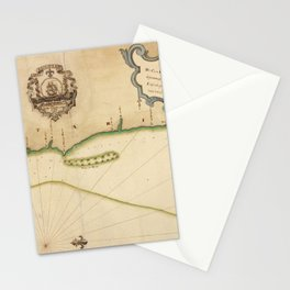 Vintage Map of Costa Rican Coastline (1758) Stationery Cards