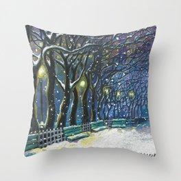 Snowy night park Throw Pillow