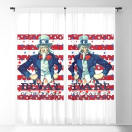 Beware of The Wrath of the Patient Man Stars And Stripes Blackout Curtain