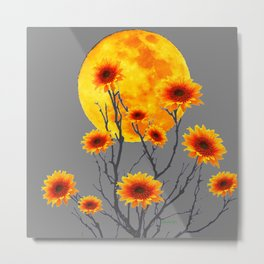 Red Gold Color Fantasy Sunflowers  Flowers Moon  Art Metal Print