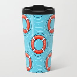 Lifebuoy on blue water pattern Travel Mug