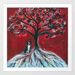 Boston Terrier spiritual love tree Art Print