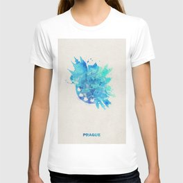 Prague, Czech Republic Colorful Skyround / Skyline Watercolor Painting T-shirt