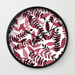 Watercolor branches - red Wall Clock