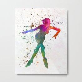 Woman in roller skates 08 in watercolor Metal Print