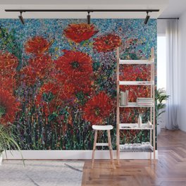 Wild Grass and Poppies Pollock Inspiration Wall Mural