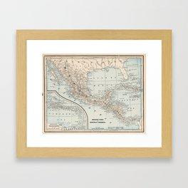 Vintage Map of Mexico (1893) Framed Art Print
