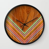 jenna kutcher Wall Clocks featuring Aztec Arbutus by Jenna Mhairi
