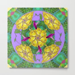 MYSTICAL YELLOW ROSES & PURPLE MORNING GLORIES GREEN ART Metal Print