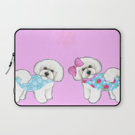 Bichon Frise Dogs in love- wearing pink and blue coats Laptop Sleeve