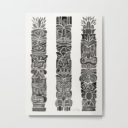 Tiki Totems – Black Metal Print