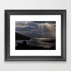 Sun Rays over Eilean Donal Castle Framed Art Print