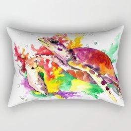 Sea Turtle in Coral Sea Rectangular Pillow