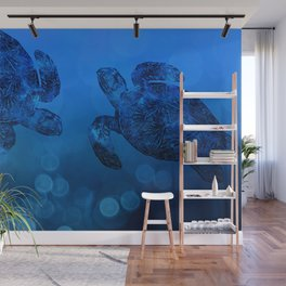 Sea Turtle In Deep Blue Water Wall Mural