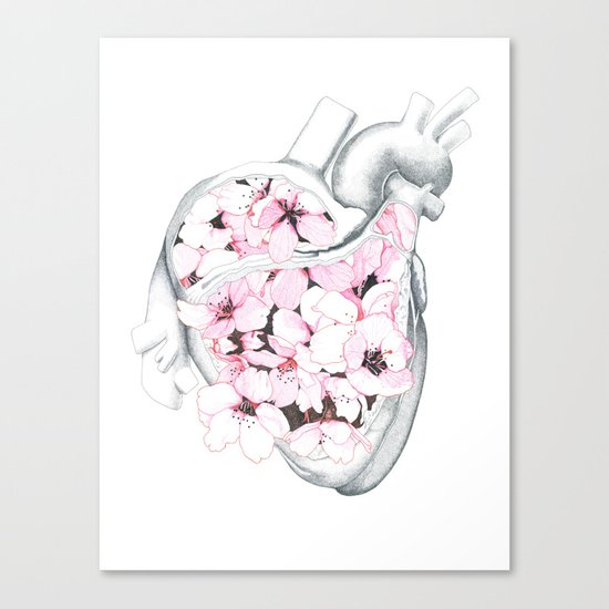 Blossom Burst Heart Canvas Print