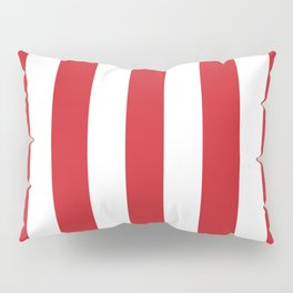Fire engine red - solid color - white vertical lines pattern Pillow Sham
