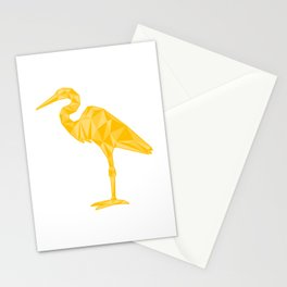 Low-Poly Egret Stationery Cards