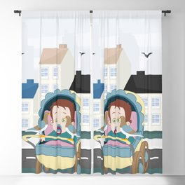 Cart and pigeons Blackout Curtain