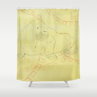 walrus Shower Curtains featuring Walrus  by Caitlyn Cold