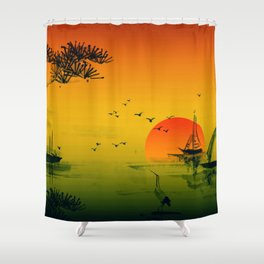 Japanese Sunset Oriental Asian Style Art Shower Curtain