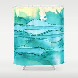 Green & Turq Abstract Horizon Shower Curtain