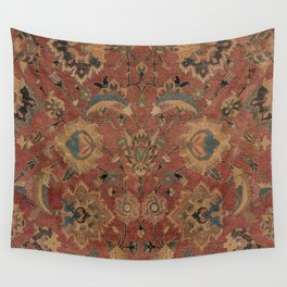 Flowery Boho Rug IV // 17th Century Distressed Colorful Red Navy Blue Burlap Tan Ornate Accent Patte Wall Tapestry