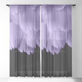 Ultra violet purple flower petals black Sheer Curtain