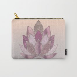 Elegant Glamorous Pink Rose Gold Lotus Flower Carry-All Pouch