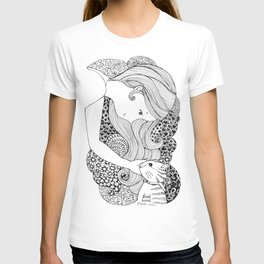 Sweet Girl and Cat Doodle T-shirt